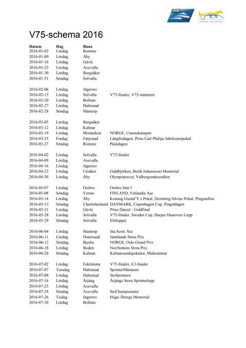 V75-schema för 2016 inklusive sommaronsdagar