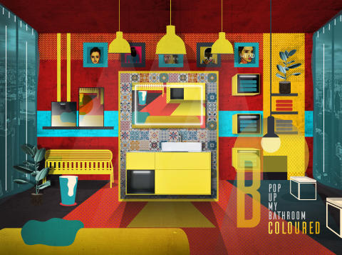 Design in splashes of vibrant colour: a bright bathroom for free thinkers