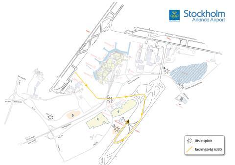 Karta med utsiktsplatser A380