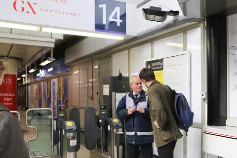 Customer Service Host Jose Lopez-Seone working at the Gatwick Express portal, Victoria station