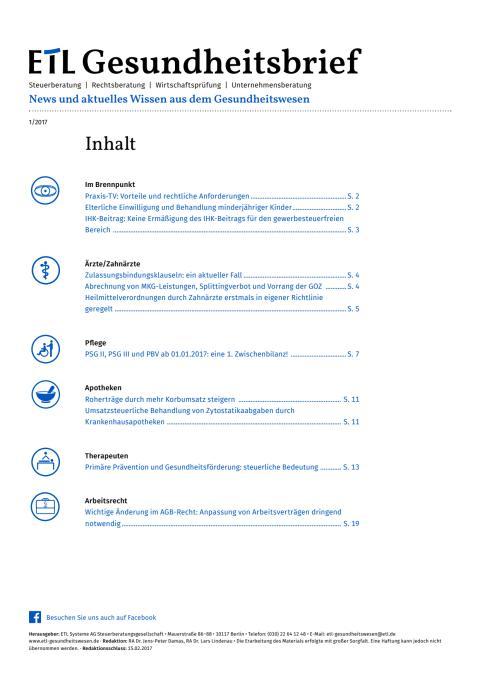 ADVISA-Gesundheitsbrief I/2017