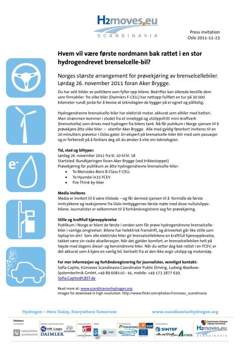 Invitasjon til å teste hydrogenbil - Aker Brygge lørdag 26. november