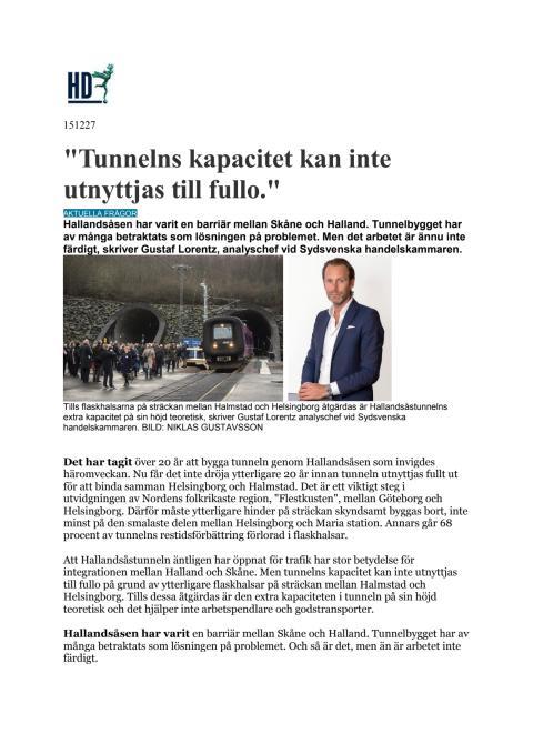 Tunnelns kapacitet kan inte utnyttjas till fullo