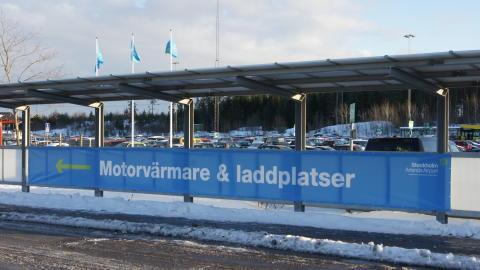 Stockholm Arlanda Airport Laddstolpar på lågprisparkering Beta
