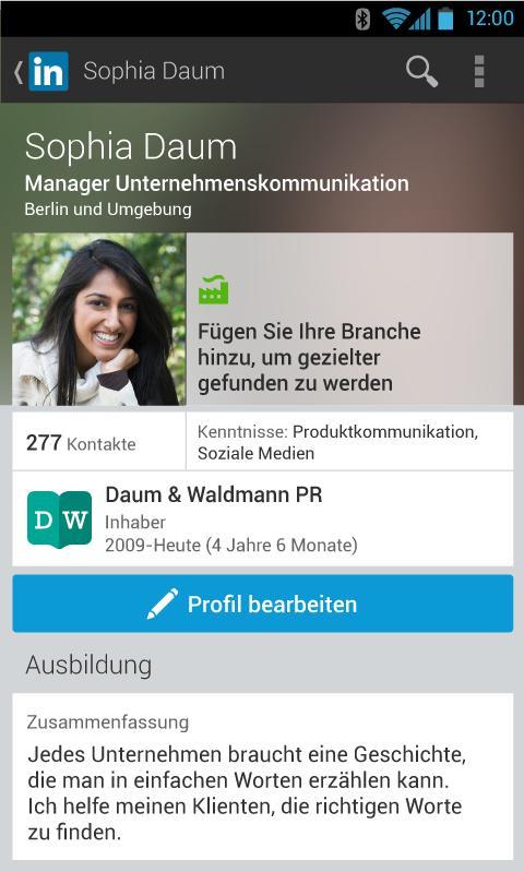 Linkedin optimiert Nutzerprofile für Mobilgeräte: Android App