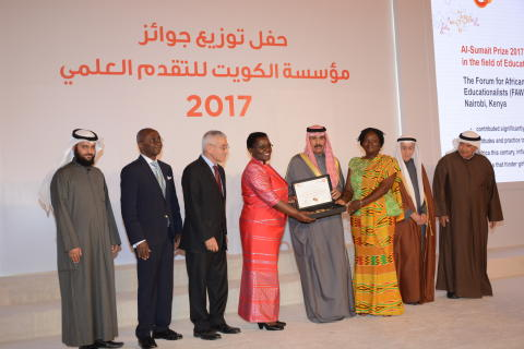FAWE the winner of Kuwait's Al-Sumait Prize for African Development for 2017 in the field of Education received their award at a special ceremony held in Kuwait City