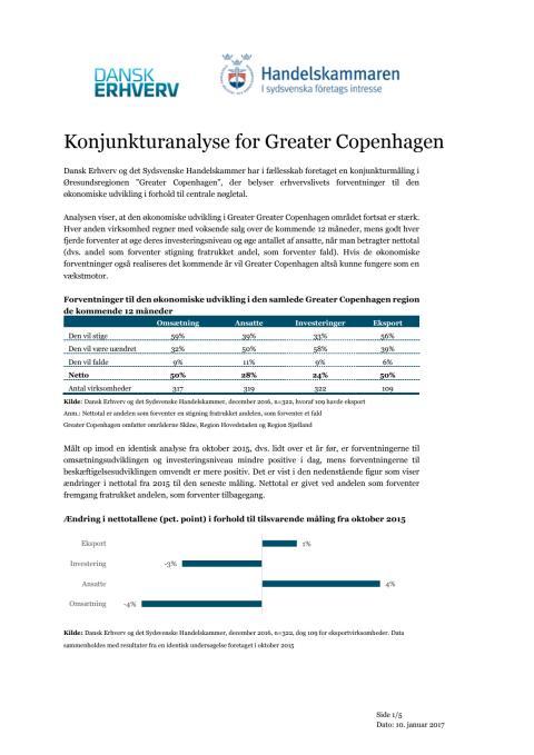 Konjunkturanalys för Greater Copenhagen 2017