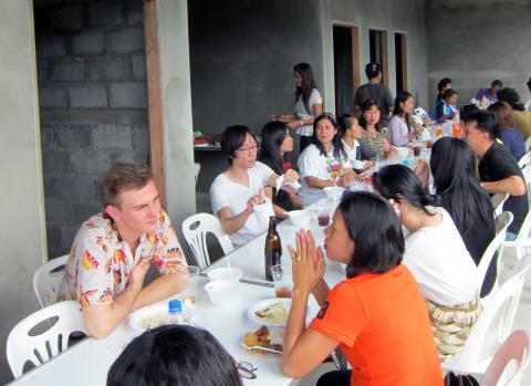Staff at the extended lunch after the ceremony.