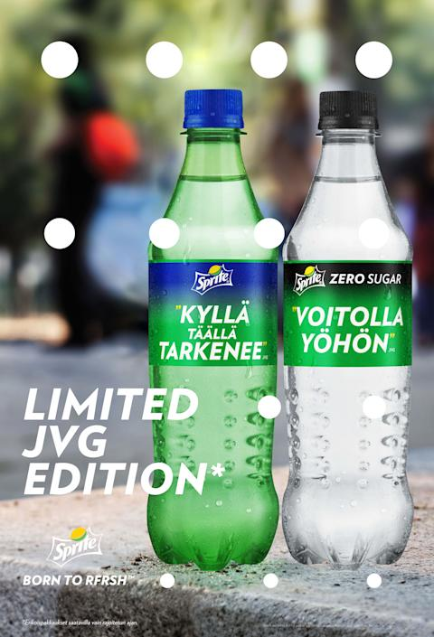 JVG:n suosituimmat riimit Sprite-pulloihin