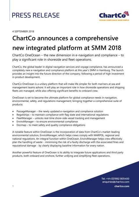 ChartCo announces a comprehensive new integrated platform at SMM 2018