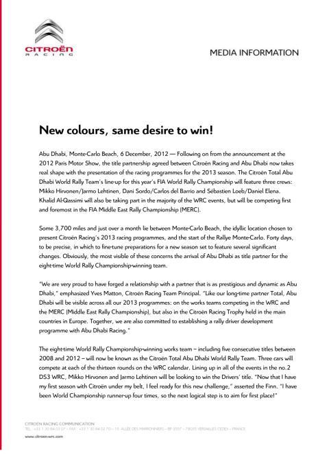 Citroën in WRC 2013: New colours, same desire to win!