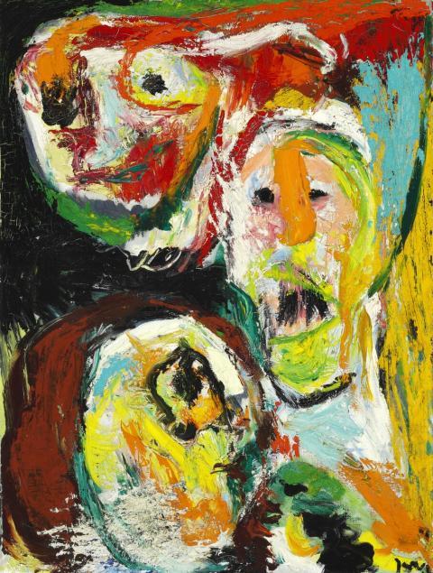 """Asger Jorn: """"Imbécilité sousdéveloppée"""", 1961. Signeret Jorn. Olie på lærred. 80×59 cm. Hammerslag:  1.000.000 kr."""