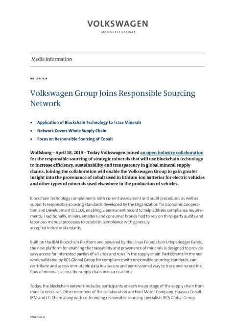 Volkswagen Group Joins Responsible Sourcing Network