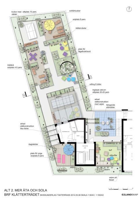 Det vinnande förslaget för takterrassen på Veidekke Bostads Brf Klätterträdet i Göteborg. Illustration: 02Landskap