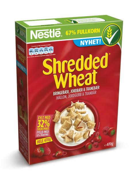Nestlé lanserer ny type frokostblanding – Shredded Wheat fullkornsputer med røde bær