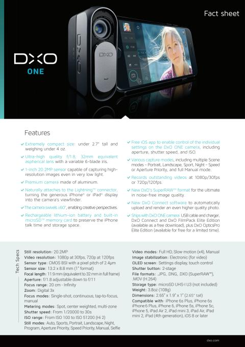 DxO ONE fact sheet
