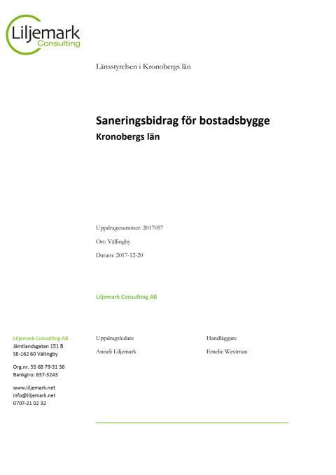 Huvudrapport saneringsbidrag för bostadsbyggande