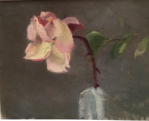 Marie Krøyer, rosa ros, Galleri Claes Moser, Grand Antiques.