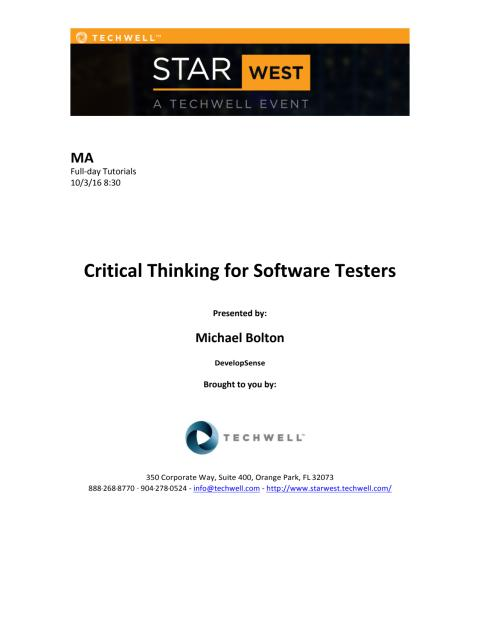 Critical Thinking for Software Testers m. Michael Bolton