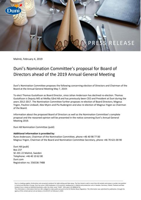Duni's Nomination Committee's proposal for Board of Directors ahead of the 2019 Annual General Meeting
