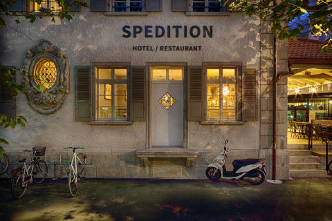 Facade at Spedition Hotel & Restaurant, Thun, Switzerland - design by Stylt.