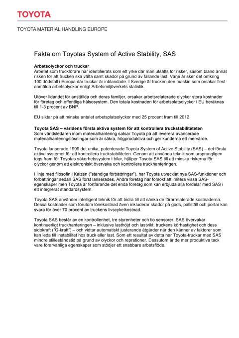 Faktablad - Toyota SAS