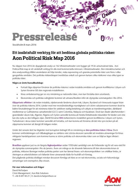 Pressrelease | Aon Political Risk Map 2016 | Svenska