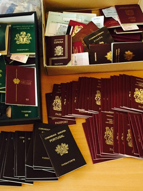 Fake passports recovered by Amberhill