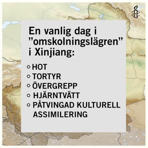 """Sverige: Amnesty arrangerar manifestationer i Stockholm, Malmö och Göteborg mot Kinas så kallade """"omskolningsläger"""""""