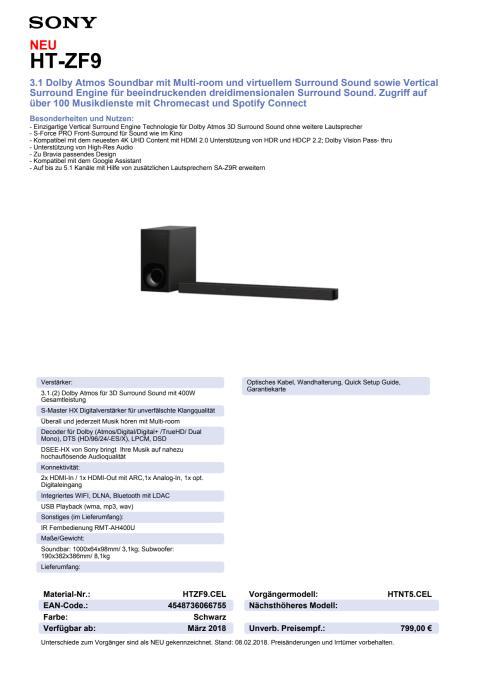 Datenblatt Dolby Atmos Soundbar HT-ZF9 von Sony