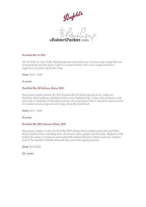 Robert Parker´s Wine Advocate Score