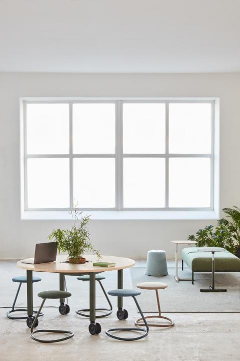 MATERIA_Vagabond Project table_Roca stool_Cap stool_Hopper table_Crest bench_Interior 1