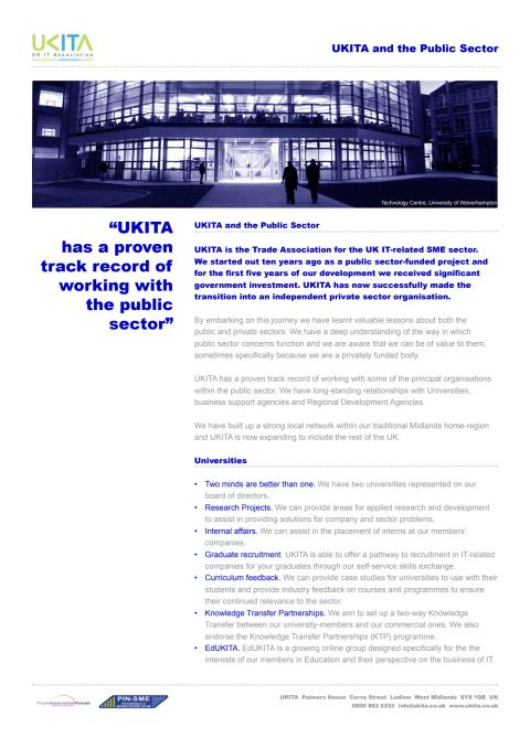 UKITA and the public sector