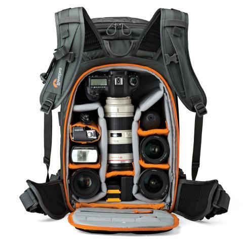 Lowepro Whistler BP350 AW åpen med utstyr