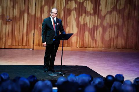 Prefekt Chrsiter Wiklund invigningstalar Orgel Acusticum vid Luleå tekniska universitet