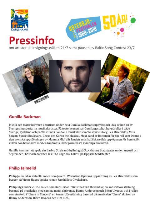 Pressinfo om artister under Östersjöfestivalen