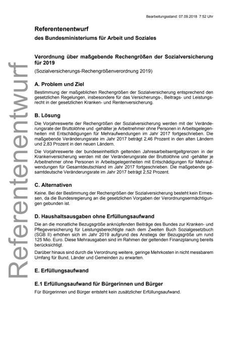 BMAS Referentenentwurf Sozialversicherungs-Rechengrößenverordnung 2019