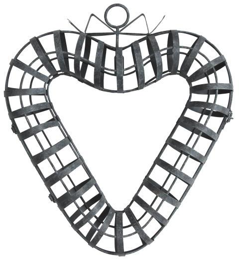 Dörrkrans eller hjärta, öppningsbart av metall