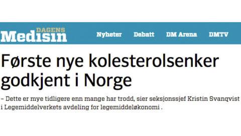 Dagensmedisin.no: Første nye kolesterolsenker godkjent i Norge