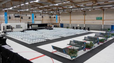 Det nya scenområdet inomhus har både evenemangs- och köksscen.