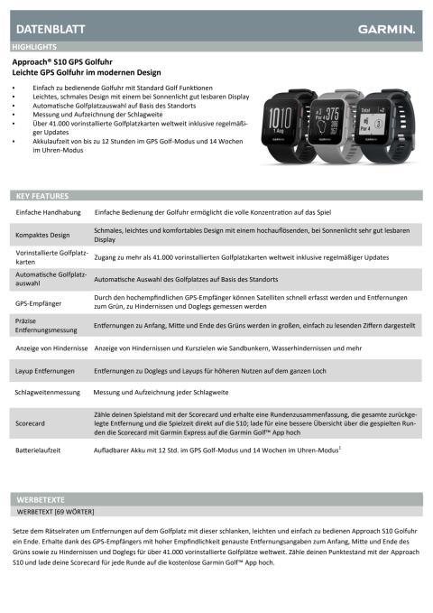 Datenblatt Garmin Approach S10