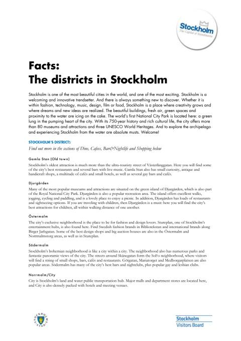 Facts: About the districts in Stockholm