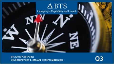 BTS Group AB (publ) Delårsrapport 1 januari –30 september 2010; Stark tillväxt och kraftig resultatförbättring
