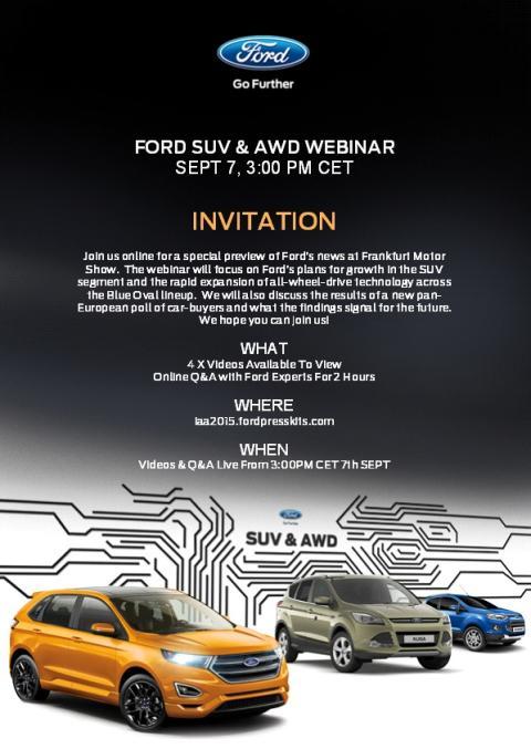 Velkommen til deltagelse på Fords webinar om våre SUV og AWD på veldig mange av våre modeller. Tid i dag mandag 7. september kl. 15.00