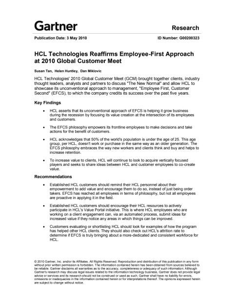 Gartner Research-HCL Technologies Reaffirms Employee-First Approach