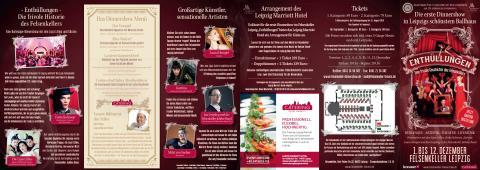"Flyer Dinnershow ""Enthüllungen"" im Felsenkeller Leipzig"
