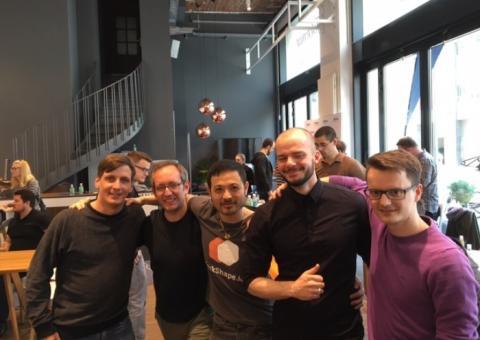 Die fleißigen Hacker: Alexander Weiher, Jonas Jatsch, Hung Lee, Andreas Rück und Thomas Christian (v. links n. rechts).