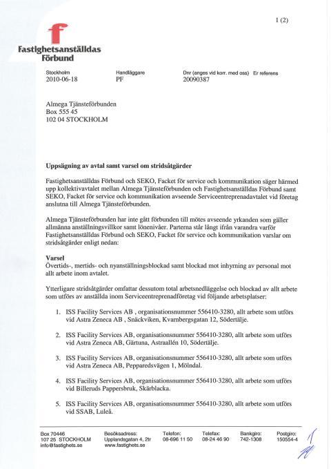 Fastighets och SEKO: Varsel om stridsåtgärder mot Almega
