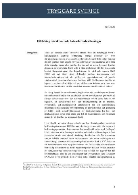 Utbildning i strukturerade hot- och riskbedömningar vid ärenden om brott i nära relationer