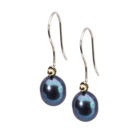 Earrings with Peacock Pearls Oval